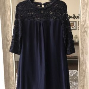 Lace detail navy dress
